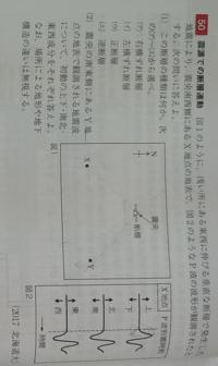 地学基礎がわかる方、教えてください (1)は右横ずれ断層だとわかりました。 (2)が、なぜ初動が「下、北西」になるのか分かりません。説明よろしくお願いします!