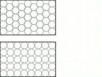 直径2cmの円を重ならずに80個並べたら、直径何cmの円に収まりますか? 大きな円の中に2cmの円がたくさん並んでいるイメージです。 ちなみに、並べ方は画像の上のような形?並べ方?で並べたい です。(画像では外枠が長方形ですが、これが円になります)  よろしくお願い致します。 ※画像はお借りしました。
