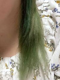 髪を緑(元は青)からピンクに染めたいです。 以前はホーユー ビューティーンのポイントカラークリーム ターコイズブルーを使い、髪色を青にしていたのですが、色落ちし、下の画像のように緑になりました。そこで、次はピンク系にしたいと思ったのですが、カラーバターのフラッシュピンクでピンクに染め上げることは可能でしょうか?  痛みが激しいので、ブリーチはしたくありません。 できるだけ早く染めたいのですが...