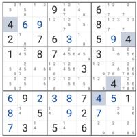 難問ナンプレの解き方を理詰めで教えてください。 2日ほど眺めてますが、どうしてもこの先に進めません。テクニックを調べてもなかなか当てはめて考えれず悩んでます。  どなたかご指導ください。