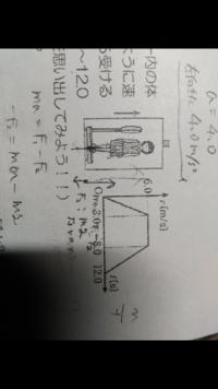 高校の物理からです。 解き方やつりあいの式などの立て方等も教えて頂きたいです。  問題・質量50㌔の人が、上昇するエレベーター内の体重計に乗っている。エレベーターが、図(写真)のように速度v〔m/s〕を変えるとき、人が体重計から受ける力の大きさは、0〜3.0秒、3.0〜8.0秒、8.0〜12.0秒の各区間で何Nか。ヒント・(v-tグラフの傾きを思い出してみよう)  となっています。   よろ...