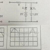 ダイオードの回路で、ピーククリッパの出力波形、リミタの出力波形がなぜ写真のようになるのか教えてください。 また、ピーククリッパはダイオードに流れる電流の向き リミタはバイアス電圧の働きについても触れて欲しいです
