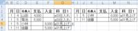 エクセル関数 リスト機能でプルダウン選択した瞬間にデータ抽出表示したい  画像参照下さい。 (細かくてすみません)  B2より右方向に「月」「日」「名義人」「支払」「入金」「科目」とあり、 B3以下、実際のデータが入っています。 科目の欄( G欄 )はエクセルの「データ」タブ→「データの入力規則」→「入力値の種類をリストに」して適当なセルより「売上」「仕入」「雑費」などの文字列が...