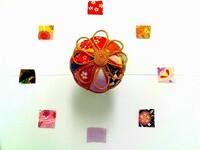 手芸が趣味で お正月にちりめん布で 画像のような手毬を作りました。 全て100均の材料で 遊び心で作ったので 本格的な手毬には 劣りますが…(^^;  画像の飾り紐のような金紐は お飾り風に仕上げたのですが 手毬に添える飾り紐のデザインで 本格的なデザインでは どのような飾り紐が存在するのか できるだけ多く教えていただけると ありがたいです。  まだ初心者なので...