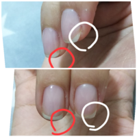 ネイリストの方にサイドストレートについて質問です。 セルフネイル初心者です。 中指の爪がサイドウォールに対して不均等に生えているのですが、スクエアオフの形にするにはどういうサイドストレートを取るのが...
