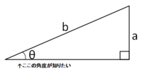 直角三角形の鋭角の求め方について  下図のように、短辺aと斜辺bの長さのみが分かっている場合の、鋭角θの求め方を教えてください。 普通は「aとbから、底辺cを求めて、tanを用いてθを求める」とかするのでしょ...