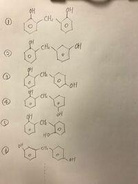 2分子のフェノールのベンゼン環が1分子のホルムアルデヒドから出来るメチレン基(CH2)によってつながれた構造式をすべてかけ という問題で私は以下のようにかなりたくさんあると思ったのですが、なぜか模範解答に...