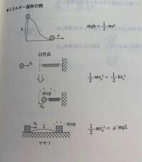 エネルギー保存の法則の例として運動エネルギーが摩擦に変わっているものが紹介されていたのですが(図一番下)μmgLは摩擦がした仕事だと思うのですがなぜエネルギ保存の法則が使えるのでしょうか 僕はどこかで間...