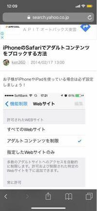 iPhoneXを使っています。 Safariのアダルトサイトを開けないようにする設定ってないんでしょうか?? あれば教えてください。  こんな感じの…です。