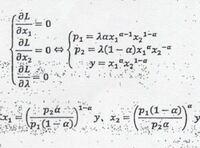 連立方程式の解き方 下の画像の連立方程式について、x1,x2の求め方を教えてください。 答えは載っていますが、なぜこうなるのかが分かりません。 よろしくお願いいたします。