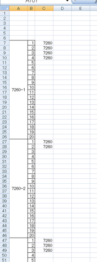 Excelマクロを使い連番を振りたい  お世話になります。  使う列はA列、B列、C列の3つで、行の末端は1026行です。 各列ともに7行目からデータが入り、B列には規則正しく1~20の数字が20おきにあらかじめ入力されています。  C列には4桁の数字が、別処理で(これは自力で解決できました)添付画像の様に1ブロック(20行)の中に同じ数字が最大20個まで入る様になっています。...