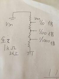 入力電圧から出力電圧を1/10倍、1/100倍、1/1000倍にする回路の抵抗は何にすればいいですか? ※全ての抵抗は1kΩ以上でお願いします。