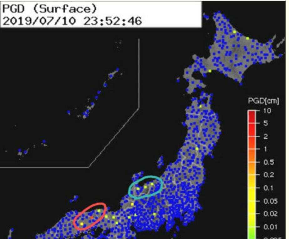 強震モニターで鳥取と兵庫の山間部に赤やオレンジのマークを頻繁に出ていますが? これは近い内に大...