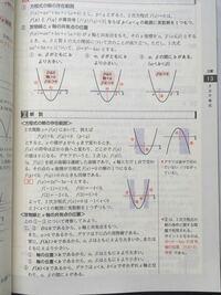 放物線とx軸の共有点の位置 基本事項2について質問です。「二次関数がx軸と共有点をもち、」という文章から、①から③の全ての場合について判別式D≧0とはならないのでしょうか。なぜ③はDについての記述がないのですか。