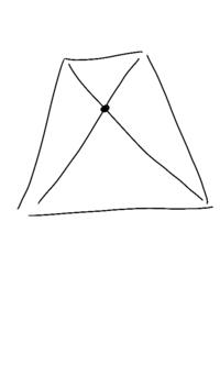 パースのかかった長方形の中心の求め方は対角線を引く事で求められますよね?