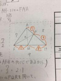 図形の問題です!助けてください! AFHの二等分線と辺AHの交点をP、FAHの二等分線と辺FPの交点をQとする このときのPQ:QFの比を求めよ  予想では1:1なんですが…  過程も含めてお願いします><