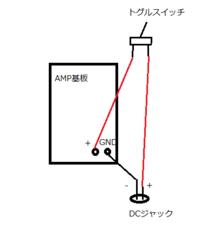 DCジャックとトグルスイッチの接続について質問です。 アンプの基盤のキットを購入したのですが、スイッチがついておらず、自分で追加したいと考えています。 この場合のトグルスイッチとDCジャック、基板との接...