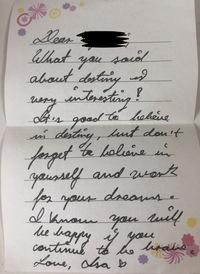 筆記体の英語の手紙をもらったのですが、全然読めないし意味もわかりません! どなたか和訳してくださいませんか?