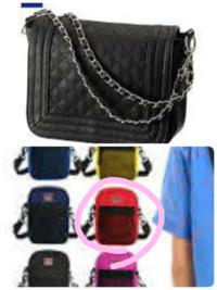 黒のTシャツ(小さくワンポイントだけ)にデニムのガウチョ、黒のサンダルにあうバッグはどっちですか? ❶黒のチェーンバッグ ❷赤のショルダーバック