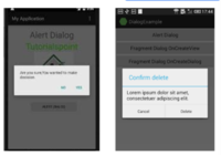 android アプリ開発でAleartDialogのボタンのレイアウトについての質問です。 画像左のようなテキストだけの右寄せボタンではなく、画像右のように枠線があり、横幅いっぱいに並ぶボタンにするにはどうすればいいでしょうか? 大変初歩的な質問ですが、よろしくお願いいたします。