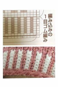 写真のような編み込みの一目ゴム編みのやり方が分かりません。輪編みなのですが、配色糸(裏目の糸)が表に渡ってしまいます。 どのように編めばいいのでしょうか。