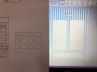 Wardの表の作り方について教えて下さい。  左側のイラストのように表を作りたいです。  ①画像左側のイラストのように表の間を空けるにはどうしたらいいでしょうか?  ②小さいセルと大きい セルを表にするにはどうしたらいいですか?  現在、同じ大きさのセルをサイズ変更すると同じサイズのセルしかあわせられません。  調べた所、表の間を開けるには表に枠なしのものを入れて見えなく...