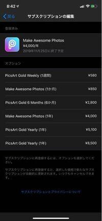 PicsArtで勝手に有料になってたみたいでこれってキャンセルできてる状態ですか?