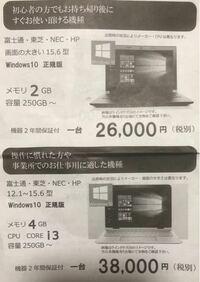 このパソコンは高いですか? JEMTC 一般社団法人 日本電子機器補修協会という所からチラシが入っていました。 メモリ 4GB CPU CORE i3 容量 250GB〜 価格 38000円(税別)  あと、分かればでいいのですが 同じス...