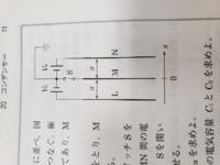 高校物理 図のように極板を接続し、十分に時間が経ったあとスイッチSを切って極板MをL,Nと平行に移動させます。 アースを0として極板Mが位置xのときの極板Mの電位を求めろという問題なのですが、コンデンサーという のは繋がれた電池と同じ電圧になるまで充電されるのですから、LM間、MN間は常にV₀でないといけないとおもうのですが何が間違っているのでしょうか?