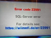今更ながらすいません。wiimmfiを使ってマリオカートWiiのオンライン対戦をしようと思ったのですが、エラーコード23991が出ます。なぜ出るのでしょうか?解決方法も教えて下さいm(_ _)m