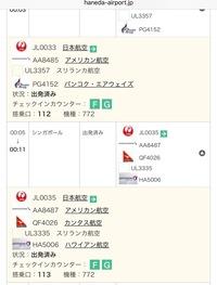 この写真は羽田空港国際線のフライト情報です!  このシンガポール行きについて便名が4個あり、飛行機も4機あるんですけど  これって同時に4機出発するってことですか? (違いますよね?) 少し難しい?返答だと思いますが よろしくお願いします