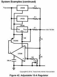 LM338の並列接続について 手持ち在庫にLM338Tが有る為 10個並列接続で 40Aの可変電源を作りたいと考えています。 秋月電子の実験室用 定電圧安定化電源キットでの 40A化も後に作成する予定です。  トランスはAC24V 40Aを購入済みです。  アプリケーションでは、3個使用した15Aタイプの回路が 載っていてますが、そこで使用されている、 LM308と2N2...