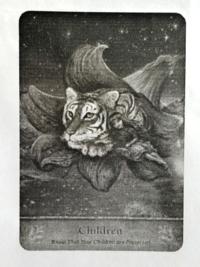 カードに詳しい方、いらっしゃいましたら このカードについて教えてくださいm(_ _)m  暗い背景で  百合の花の中にいる虎に 寄り添う女の子のカードで  このカードがなんのカードなのか、 そして意味を知りたいで...