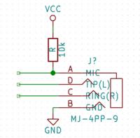 イヤホンジャックのプラグの差し込みの検出回路について オーディオ出力の部分で、イヤホンプラグの差し込みを検出したいと考えています。  4極端子用のジャックを使い、マイクの端子をプルアップして3極のプラグが差し込まれるとGNDとつながり検出するという回路を考えました。  マイク付きのイヤホンが差し込まれることは想定していませんが、万が一差し込まれた際マイクやこちらの回路が破壊されることはあるで...