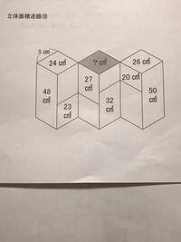 立体面積迷路の問題です。 解説がなく答えしか分からないので、解き方を教えてください! よろしくお願いします!   答えは26㎠です。