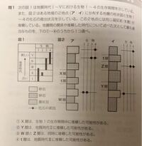 地学基礎で解説を見ても分からない問題があります。 問題文は画像を添付します。 答えは②で、解答には、『Y層は生物1が堆積した時代I〜III以後、生物3・4が堆積した時代Ⅲの前、つまり時代I〜Ⅱの間に堆積したこと...