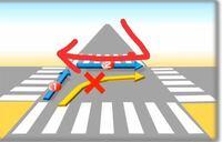 自転車で、この赤い矢印のように横断するのは良いのでしょうか? 最初は左側通行をしてますがその後右側になり、歩道を逆走することになります。  どなたか詳しい方教えてください!