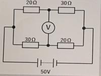 この回路において電圧計Vの指示値はいくつですか? 電流計の内部抵抗は無限大のします