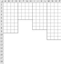 マクロでA列~最終列まで各行最終データセルの下線(実線)から下すべてのセルの枠線の色を白色にしてください。