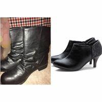 雪国・豪雪地帯の面接の靴について 私の住んでいる地域は北東北の豪雪地帯で、雪の時期には沢山積もり、普通の面接で履くパンプスではすぐびしょ濡れになってしまいます。 そこで私の手持ちで、左の写真の黒のミドルブーツ(しまむら)とショートブーツ(楽天)があるのですが、雪の量がひどいときはこちらの靴でも大丈夫でしょうか?やはり濡れてもパンプスのほうがいいですか?  この時期は根雪ならともかく、半端な雪...