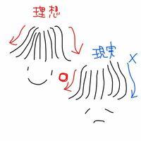 前髪をストレートアイロンで巻いているとき、図のように流したい方向に流れません。片方は上手く外側にいくのですが、もう片方がどうやっても内側に流れます。色々な解説動画をみたり、アイロンを後ろにもっていくと よいときいてやってみましたが、全く上手く行きません。どうすればよいですか?図が下手ですいません