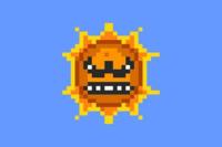 """マリオに登場するこの太陽、 海外では""""Angry Sun""""と呼ばれているのですが、 日本語での愛称は無いのですか?  あと、この太陽はトラウマですか? (ただのオブジェかと思ったら突然動きだし、ダメージを..."""