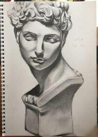 デッサンの評価をお願いします。中学3年生です。 初めて石膏像のデッサンを描きました。メディチです。  悪い所や直したら良い所、上手く描くためのコツなどありましたら教えていただきたいです。  宜しくお願い致します。