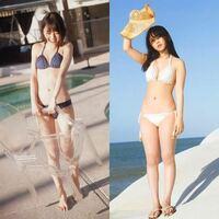 未央奈ちゃん(160cm)と、 与田ちゃん(152cm)が、 この水着姿で体重を測ったら、それぞれ何kgだと思いますか?   ※体重は小数第一位の値までお願いします。  また、ウエスト、太ももはどっちの方が太いと思いますか?