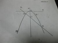図の放物線mはy=-1/4X^2、直線nはy=-x-3である。mとnの交点をA,Bとし、直線nとy軸との交点をcとする。また、放物線m上の0からBの間に点pをとる。 (1)点AとBの座標を求めよ。 (2)△ACP:△BCPの面積比を求めよ。 (3)△ABPの面積が7になるときのPの座標を求めよ。