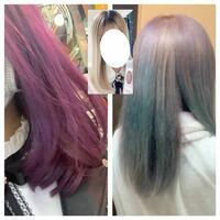 美容師さん・ヘアカラーに詳しい方 教えてください 左が染めたて(4/12)で右が昨日のお風呂上がりです。紫が緑になってしまいました。 ブリーチは画像真ん中の髪色から根本のみ(根本から下に伸ばす感じで塗ると...
