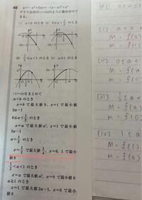 数学Iです。二次関数の最大、最小を求める問題です。場合分けして4つしか出てきてないんですが、この写真の線を引いたところのはなんですか?書かないとバツですか?