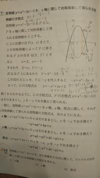 y軸に関して対称移動して得られる放物線の方程式を教科書のように求めてほしいです。
