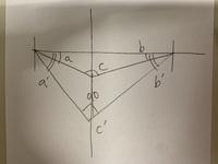 三角形の角度の求め方についての質問です 私の数学のレベルは異様に低いので、用語など間違っていたり初心者レベルのことが分かっていない可能性があります  まず角度a、角度b、角度cからな る三角形があり、...