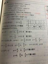 高校数学 解答の5行目がわかりません。 なぜ、−1≦t≦1になるのでしょうか
